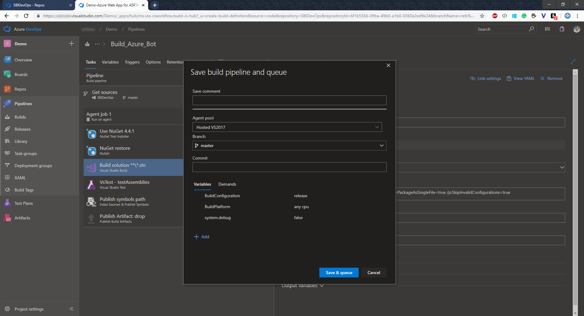 Setting up a Build and Release Pipeline for Azure Bot Service using