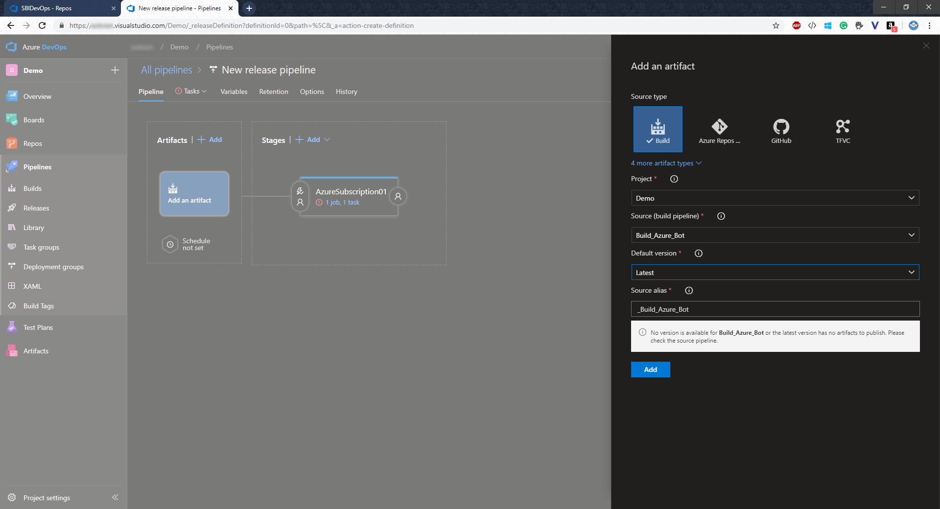 Setting up a Build and Release Pipeline for Azure Bot